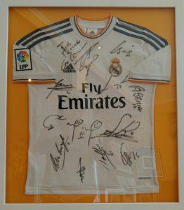 Enmarcación camiseta de futbol del Real Madrid